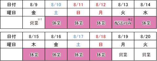 2019夏季休業カレンダー